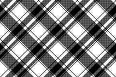 Sömlös PIXELmodell för svart vit pläd vektor illustrationer