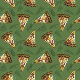 Sömlös pizza för modellvattenfärgcarbonara på grön bakgrund stock illustrationer