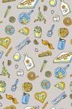 Sömlös pizzabakgrundsmodell Vektorkonst- och matbasilika stock illustrationer