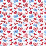Sömlös plan hjärtabakgrund i nätta färger Royaltyfri Bild