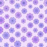 Sömlös plan violett blommabakgrund, blom- tapet för vektor Stock Illustrationer