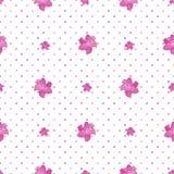 Sömlös polka Dot Texture med liljablommor Vit bakgrund stock illustrationer