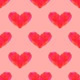 Sömlös polygonal hjärtamodell Stock Illustrationer