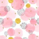 Sömlös prickig modell med rosa och guld- cirklar royaltyfri illustrationer