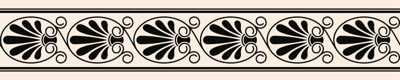 Sömlös prydnad för grekisk stil Svart modell på en beige bakgrund vektor illustrationer
