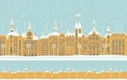 Sömlös prydnad med den gamla vinterstaden med snö stock illustrationer