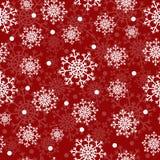 Sömlös röd julmodell med snöflingor Royaltyfria Foton