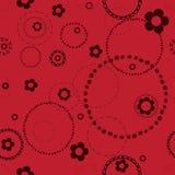 Sömlös röd modell med klotter Royaltyfri Bild