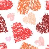 Sömlös röd vit modell för hjärtaform Färgpennakonstslaglängder räcker hjärta för förälskelse för teckningsvalentindagen rolig stock illustrationer