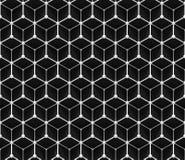 Sömlös rastermodell av tredimensionella kuber och små sfärer i svartvitt Fotografering för Bildbyråer