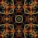 Sömlös rastermodell i den psykedeliska mosaikmodellen för orientalisk stil för tapeten, bakgrunder, dekor för gobelänger, matta stock illustrationer