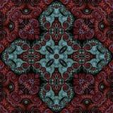 Sömlös rastermodell i modellen för mosaik för orientalisk stilblomma den psykedeliska för tapeten, bakgrunder, dekor för gobeläng royaltyfri illustrationer