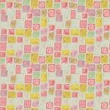 Sömlös rastermodell med mosaiken som göras med färgrika fyrkant- och rektangeltegelplattor vektor illustrationer