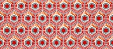 Sömlös reflekterande orange techbakgrund med den baserade sexhörningen formar Arkivfoton