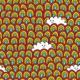 Sömlös regnbåge- och molnmodell. Royaltyfri Fotografi