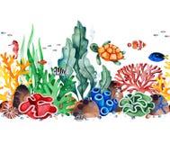 Sömlös repetitiongräns för undervattens- varelser med mångfärgade koraller, snäckskal, havsväxter, fisk, sköldpadda, seahorse royaltyfri illustrationer