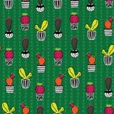 Sömlös repetitionmodell för kaktus stock illustrationer