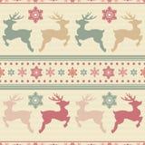 Sömlös retro bakgrund med hjortar och vinterdekoren Textur för jul eller för nytt år vektor EPS10 vektor illustrationer