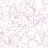 Sömlös retro modell med orkidén Vektor Illustrationer