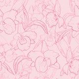 Sömlös retro modell med orkidén Stock Illustrationer