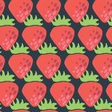 Sömlös retro vektormodell för röda jordgubbar royaltyfri illustrationer