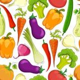 Sömlös rolig grönsakbakgrund Arkivfoto