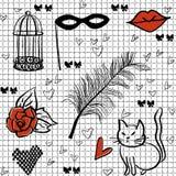 Sömlös romantisk vektorbeståndsdelmodell Royaltyfri Illustrationer