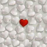 Sömlös romantisk vit och röda hjärtavalentin  Royaltyfri Fotografi