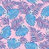 Sömlös rosa bakgrund för blåa exotiska sidaplumeriablommor vektor illustrationer
