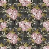 Sömlös rosa blommamodell på rutig bakgrund Fotografering för Bildbyråer