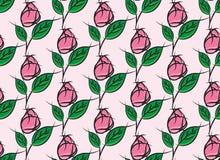Sömlös rosmodell på rosa bakgrund Royaltyfri Fotografi