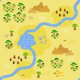Sömlös savannahöversikt i plan stil Royaltyfria Bilder