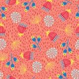 Sömlös scandinavian blommavektorbakgrund 60-tal retro blom- design för 70-tal Röda, gula och blåa tappningklotterblommor på royaltyfri illustrationer