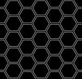Sömlös sexhörningsmodell Svart geometrisk texturerad bakgrund royaltyfri illustrationer