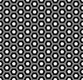Sömlös sexhörningsmodell Svartvit geometrisk textur och bakgrund stock illustrationer