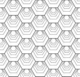 Sömlös sexhörningsmodell Vit och svart geometrisk textur och bakgrund vektor illustrationer