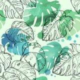 Sömlös sidamodell för abstrakt vattenfärg med tropiska sidor Arkivbilder