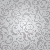 Sömlös silver virvlar runt modellen för den blom- tapeten Arkivfoto