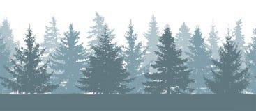 Sömlös skog i vinter, kontur av granträd vektor illustrationer