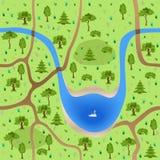 Sömlös skog med sjön Arkivfoto