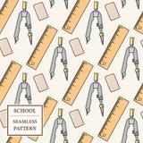 Sömlös skola- eller kontorstillförselmodell Gör linjen symbol tunnare Vect Royaltyfri Foto