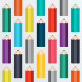 Sömlös skolamodell med blyertspennor Royaltyfria Bilder