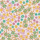 Sömlös småskalig blom- modellbakgrund för rosa blommande äng vektor illustrationer