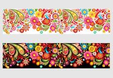 Sömlös sommarlik blom- gräns med färgrika abstrakta blommor royaltyfri illustrationer