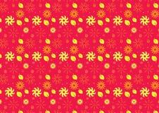 Sömlös sommartemabakgrund i rosa färger och guling Royaltyfria Bilder