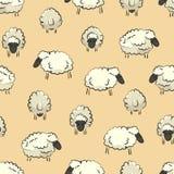 Sömlös stiliserad färgrik beståndsdel för textur för fårflockmodell på gul bakgrund stock illustrationer