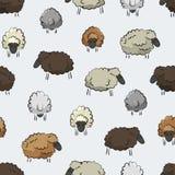 Sömlös stiliserad färgrik beståndsdel för textur för fårflockmodell på neutral bakgrund royaltyfri illustrationer