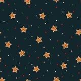 Sömlös stjärnamodell med julpepparkakakakor - xmas-stjärna och färgrika konfettier Arkivbilder