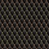 Sömlös svart lädertextur med guld- metalldetaljer Vektorläderbakgrund med guld- knappar Royaltyfria Foton