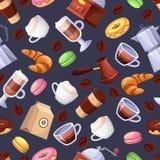 Sömlös svart modell för coffee shopvektor Plan illustration för tecknad film Beståndsdelar för design för textiltryckbakgrund stock illustrationer